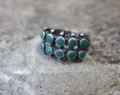 1940's Double Row Ring / Size 7 / Vintage Sterling Silver Turquoise Ring / Trading Post Jewelry