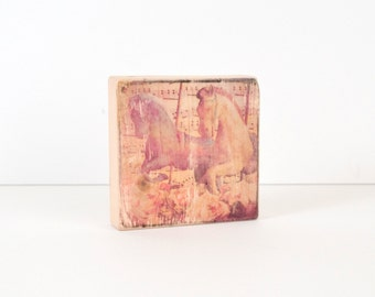 Carousel Art Block, Art Blocks, Wood Printing, Wood Block Art, Distressed Art, Vintage Carousel Horses, Small Art