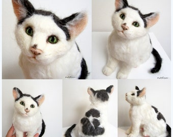 Felt cat sculpture, realistic cat replica, likeness to your pet, needle felted kitty, soft fiber sculpture, miniature kitty, MADE to ORDER