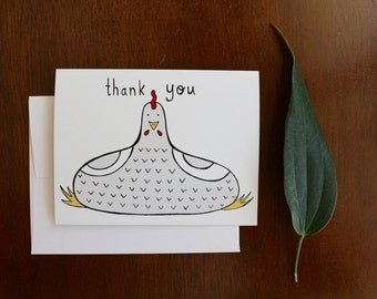 Greeting Card - Thank You - Chicken - gift, mom, dad, country, farm, garden, animal