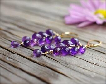 Amethyst earrings. 18K gold amethyst cluster briolette earrings. Rich purple faceted gemstone amethyst  cluster earrings - made to order