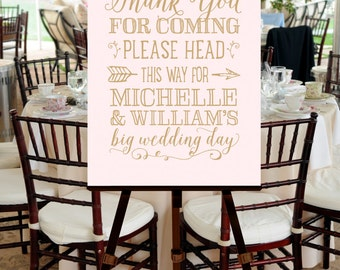Welcome Sign for Wedding, PRINTABLE FILE, Blush Pink, Gold, Ballet, Hand Drawn, Calligraphy, Script, Poem