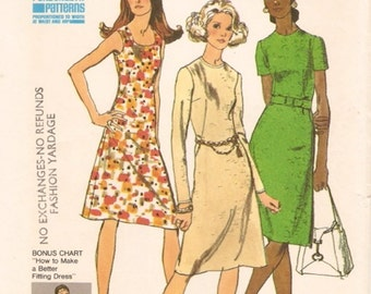 Fab Vintage 1970s Simplicity 9464 Bonus Basic A Line Dress with Personal-Fit Instructions Sewing Pattern B38