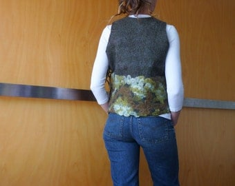 Eco fashion, green sleeveless top/vest, slip over,  felted wool, natural designer clothing, eco friendly clothing, funky women's clothing