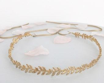 Gold leaf hair vine, Gold leaf wedding hair vine, gold leaf bridal hair vine, gold leaf wedding headband, gold leaf wedding crown