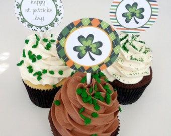 DIGITAL DOWNLOAD St. Patrick's Day Cupcake Toppers Digital Download Shamrock Irish