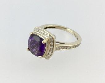 Diamond Amethyst Engagement Ring 14k White Gold Halo Set