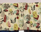 Kitchen Cafe Curtain . Valance . Mod Mid-century Retro Design . Atomic Fabric Inspired . Turquoise . Handmade by PrettyLittleValances