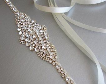 Bridal belt, Swarovski crystal bridal belt sash, Wedding belt, Gold bridal belt sash, Rhinestone bridal belt, Skinny bridal belt full length