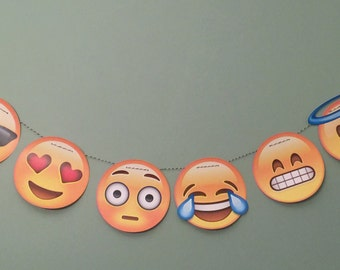 Party Banner: Emoji Garland party wedding birthday decoration social media iPhone app icon centerpiece photo prop smiley face emoticon