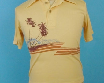 1970s California Surfer Brand Polo Shirt Medium Surfing Print Wood Buttons