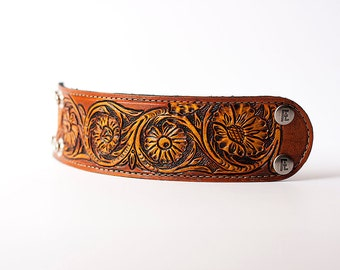 READY TO SHIP / Hand Tooled Leather Cuff / Floral
