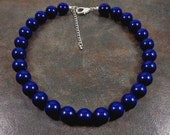 Statement Necklace, Navy Blue, Blue, Big Bead Necklace, Navy, Round Bead Necklace, Beaded, Chunky Necklace, Strand Necklace