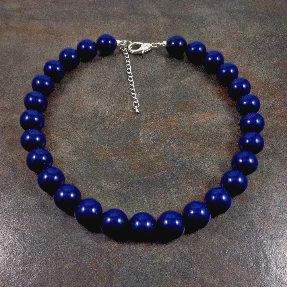 Necklace Beads: Statement Necklace Navy Blue Blue Big Bead Necklace Navy