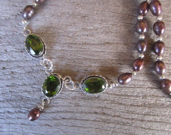 formal pearl and crystal necklace, purple freshwater pearl with green crystal, evening wear