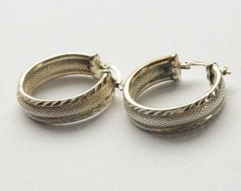 """SALE Vintage Sterling Silver Textured Hoop Earrings 1"""""""