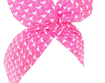 Pink with white flamingo print Pin up - Rockabilly wire headband hair wrap