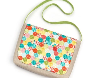 Small Children's Fabric Messenger Bag Little Girl Fabric Satchel Bag for Toddler