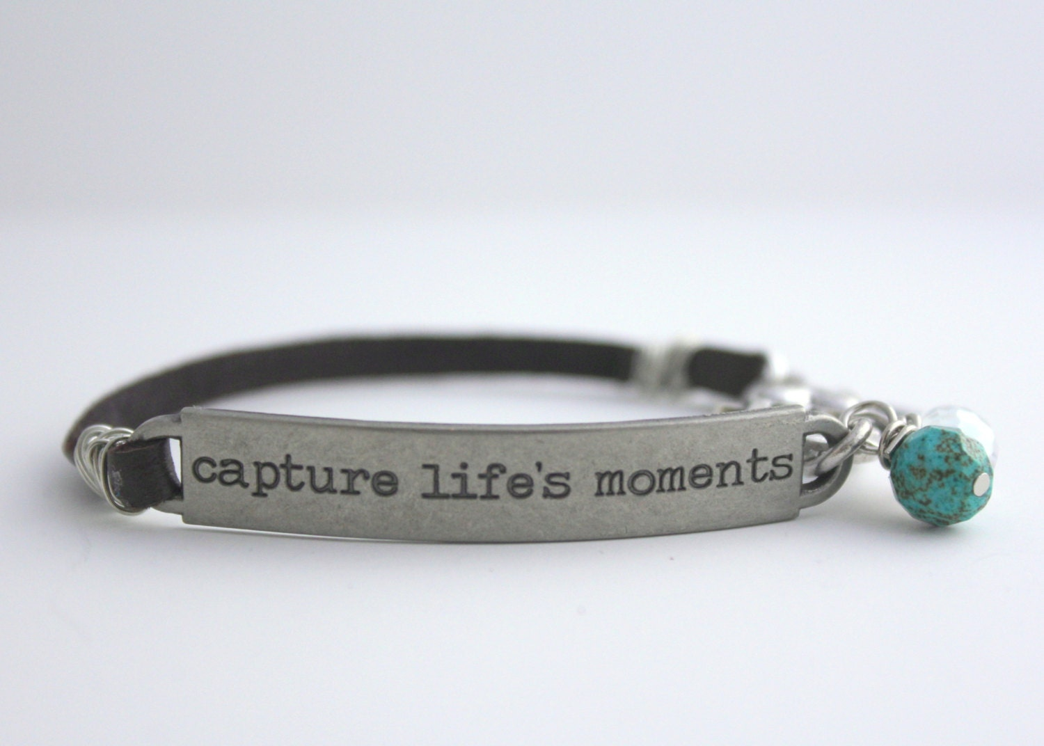 leather bracelet inspirational quote capture life 39 s