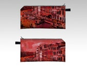 pencil case cosmetic bag clutch makeup bag pouch boho pink coral orange cityscape Venice Grand Canal Bohemian Italy Italian clutch purse
