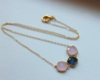 Sapphire Blue Pink Opal Necklace Gold Filled Chain - Navy Blue Blush Jewelry - Wedding Jewelry - Bridesmaid Jewelry - Bridesmaid Necklace