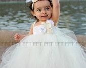 Ivory, White, Flower Girl Dress, Couture, Tutu Dress, Newborn-24m, 2t,2t,4t,5t, 6, birthday