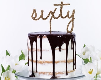 Sixty 60 Sixtieth Age Number Word Cake Topper - Birthday Celebration Party