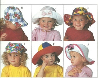 Butterick Pattern 3875 Toddler Child Adult Hats (All Sizes) UNCUT