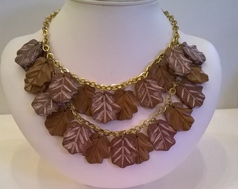 Wood Leaves Necklace - Vintage 1940s Choker Chain Leaf Necklace with Two Rows of Dangling Carved Brown Wooden Leaves