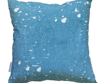 Blue pink Ink Splatter linen cushion cover