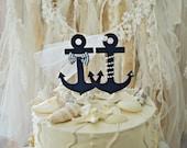anchor Navy nautical beach themed wedding ocean sailor destination wedding cake topper navy blue bride and groom anchors decorated anchors