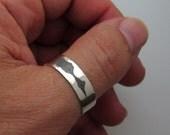Mens Thumb Ring - Sound Wave Band for Men - Customized Sterling Silver Ring - Mens Band - Handmade Mens Ring - Mens Gifts - Custom Ring