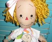 Primitive Golden Hair Raggedy Doll in Peanuts Outfit *Use Coupon for 20% Off*