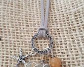 Silver Charm Necklace with Peachy Orange Gemstone and Starfish Charm