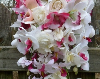 Cascading orchid and rose bouquet, pink and white cascade bouquet, artificial cascade bouquet, teardrop bouquet, orchid bridal bouquet