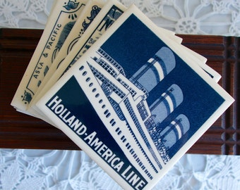 Holland America tile blue and white coasters set of six