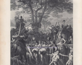 Defeat-Slavery-Caesar-Rome-Helvetians Pass Romans Under Yoke-Large 1878 Antique Vintage Art Print-Gallic War-Battle-Beheading-Humiliation