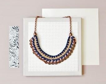 Crochet Necklace, Statement Necklace, Bib Necklace, Tribal Necklace, Fabric Necklace, Boho Necklace, Colorblocking Necklace