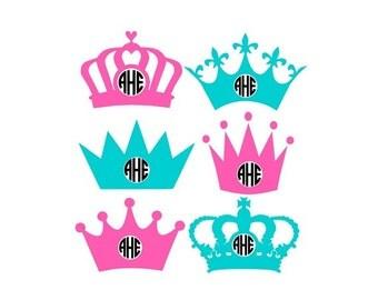 Crown Monogram Svg, Princess Crown Svg, Circle Monogram Svg, Monogram Crowns Svg, Princess Cut Files, Silhouette Cut Files, Cricut Cut Files