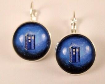 Space tardis leverback earrings