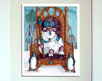 Polar Bear painting Watercolor The Emperor Tarot Card Fantasy Art 11 x 14  Matted Print
