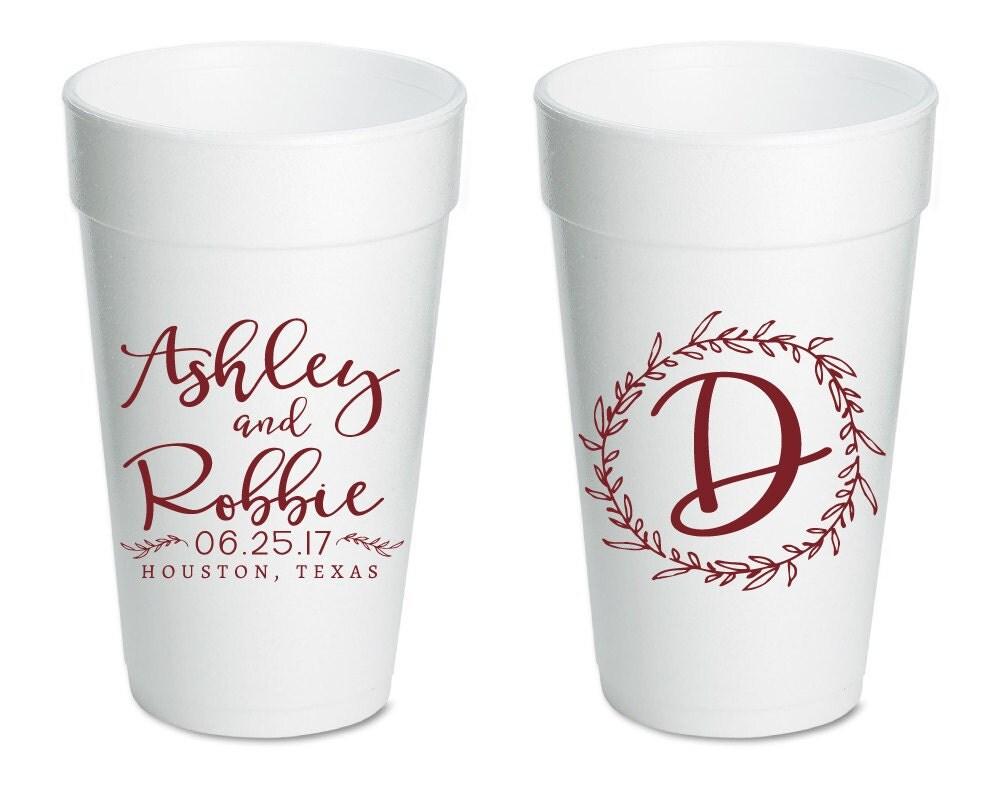 wedding cups foam wedding cups custom cups wedding monogram On custom cups for wedding