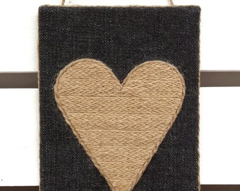 Heart sign - Twine Love sign - Natural twine love sign - Rustic Love sign - Twine heart love sign - Heart sign - Love sign