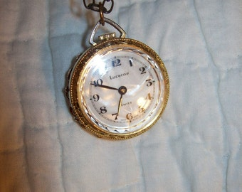 Vintage Ladies Swiss Made Golden Rose Pendant Necklace Watch w/ Mother of Pearl Face by Lucerne Only 24 USD