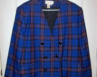 Vintage Ladies Blue Plaid Wool Blazer by Maggie Barnes Size 20 1/2 Only 10 USD