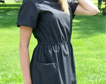 Vintage 70s Ladies Black Dress by Studio E Size 9/10 Only 9 USD