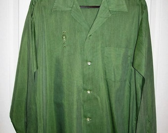 Vintage 1950s Mens Green Rockabilly Shirt Towncraft Plus by Penneys Medium Only 30 USD