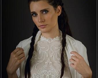 Ivory Modest Bridal Cover Up With 4 Wearing Options- Shawl Shrug, Crisscross And Scarf. Ivory Non Sheer Shawl. Wedding Bolero Shrug  KR107