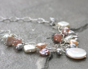 Freshwater pearl necklace, wire wrapped, necklace, sterling silver, quartz gemstones, beach jewelry, wedding jewelry