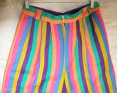 Bermuda SHORTS/STRIPES/ITALY/Linen/Vintage/1980's